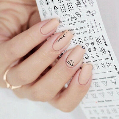 1 Sheet Nail Art Transfer Stickers 3D Design Manicure Tips Decal Decoration Tool