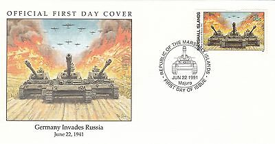 (00577) Marshall Is FDC WWII Germany Invades Russia 1991