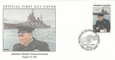 (00578) Marshall Is FDC WWII Atlantic Charter Announcement 1991