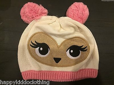 GYMBOREE Cozy Owl face Hat Size 5-7 NEW  dup girl pink