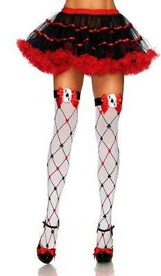 Adult Women Woven Diamond Card Suit Thighs High Stockings Lingerie