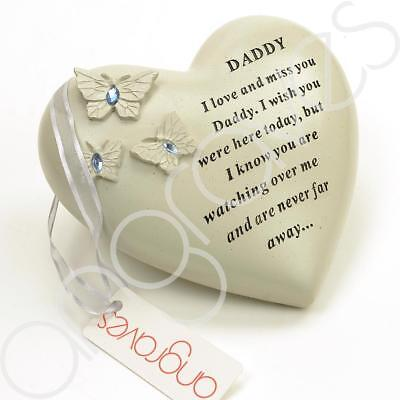 Special Daddy Butterfly Gem Heart Graveside Memorial Ornament Plaque
