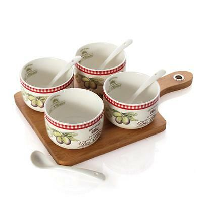 Tapas-Set, 4 Bowls with Spoons, Plate 28x17,5cm, Motive Maitre Fromager