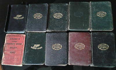 Collection Of 10 Vintage Pocket Diaries 1917 To 1926 7 Collins 2 Boots 1 Cranes