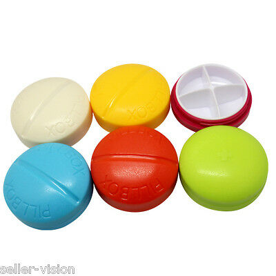4 Compartment Compact Pill Box Case Tablet Holder Medicine Dispenser Organisers