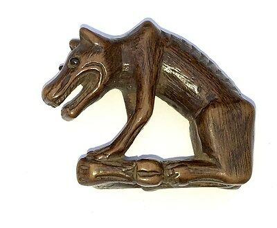 Nice19th Century. Wood Netsuke of a Wolf - Signed On Bottom No Reserve