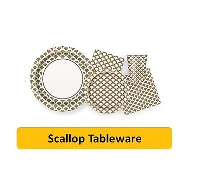 GOLD SCALLOP Party Tableware Disposable Birthday Supplies Event Decorations