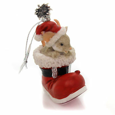 Charming Tails TELL SANTA IT'S SHOE TIME Polyresin 25th Anniversary 130449