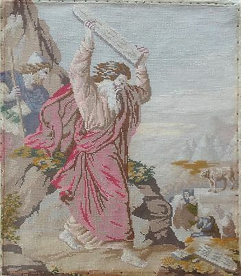 Vintage Tapestry Hand Made Religious Theme Moses Breaking the Tablets of Stone