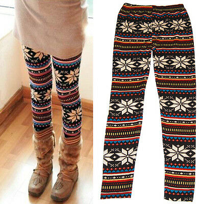 Womens Print Leggings Patterned Vintage Retro Fashion 6 8 10 Stripe Winter Gift