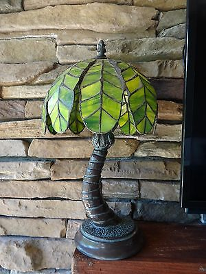 Vintage Stained Glass PALM TREE Tiffany Style Table LAMP Boudoir Exotic