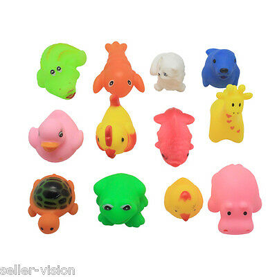 12 Mini Squeaky Bath Toys Animal/Ocean Water Play Fun Kids Toddler Floating