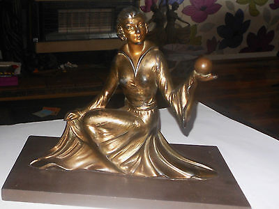 Art Deco Spelter  Figure Of A  Woman Holding A Ball