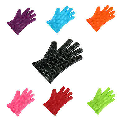 1 Pair of Gloves Heat Resistant Silicone Gloves Kitchen BBQ Oven Cooking Mitts