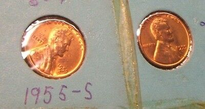 (2) 1955-S~~ Lincoln  Wheat Cents~~Ms-Red~~2 Coin Lot