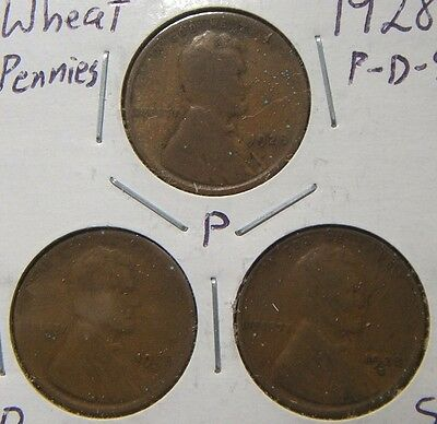 1928-P-D-S~~Lincoln  Wheat Cents~~All 3 Mints~~One Price
