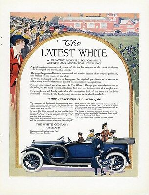 WHITE AUTOMOBILE Co Auto Car Ad 1915 at NAVY FOOTBALL Game GOAT Blue Convertible
