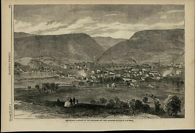 Cumberland Maryland City View Landscape nice 1866 great old print for display