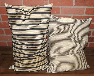 2 Vintage Antique Blue Striped Ticking Feather Bed Pillows