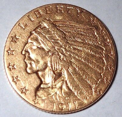 1911 $2 1/2 Dollar Gold Indian Head Coin Nice Lightly Circulated 1/4 Eagle