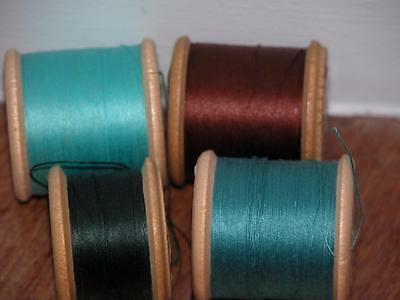 4 Vintage Sylko Coats Wooden Cotton Reels & Thread Top O'hill Sewing Silk