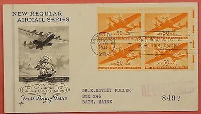 1941 Airmail 50C Transport Plane # C31 Block Of 4 Registered