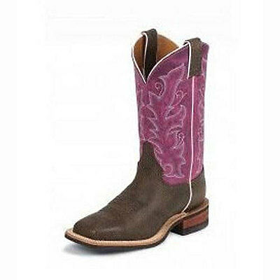 BRL330 Justin Women's Chocolate Bisonte Cowhide Cowboy Boot NEW