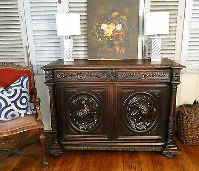 Antique French Hunt Buffet Sideboard Server Highly Carved 1800's Dark Oak