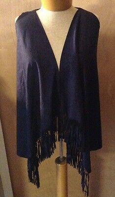 NWT Womens Navy Faux Suede Fringe Open Front Casual Vest Size Medium M