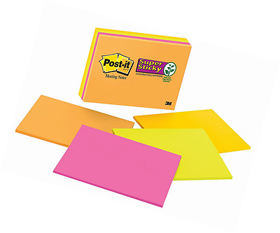 Post-it Super Sticky Notes, 8 in x 6 in, Rio de Janeiro Collection, 4 Pads/Pack,