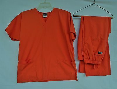 CHEROKEE WORKWEAR SHORT SLEEVE SCRUB TOP & PANTS MORW ORANGE SET Size M