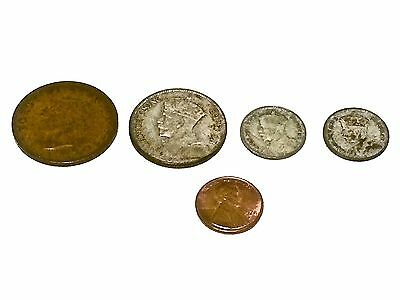 Old New Zealand Coin Lot 1 1941 Penny, 1 1934 Florin, 2 Sixpences 1934 & 36 L-2