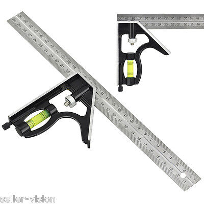Adjustable Sliding Combination Square Ruler Level Measuring Tool 300mm/30cm/12""