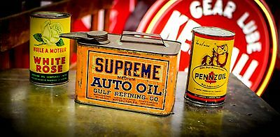 Gulf Supreme Motor Oil 1 gallon can Early Solder Seam Service Station Advert.