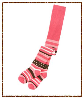 *new* Gymboree Girls Size 5-7 Star Of The Show Pink Brown Striped Tights