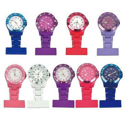 Coloured Plastic Nurses Fob Watch Brooch Ladies Nurse Uniform Tunic Free Battery