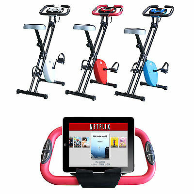 Folding Magnetic Exercise X Bike Fitness Cardio Workout Weight Loss iPad Holder