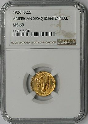 1926 American Sesquicentennial Gold Commemorative $2.5 MS 63 NGC - Sesqui