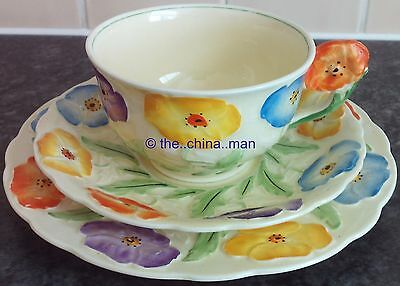 c1920 GRINDLEY handpainted relief moulded FLORAL HANDLE CUP SAUCER PLATE TRIO