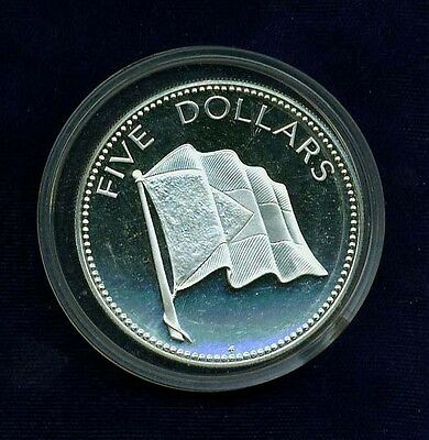 Bahamas  1974  5 Dollars  Silver Proof Coin, A Gem! Superb And Choice Proof!