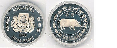 1983 Singapore Proof Silver $10 Lunar Pig Coin in Presentation Case, Certificate