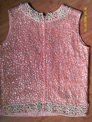 Vintage 50's GLAM SEQUINED Lambswool/Angora WOMENS TOP Medium
