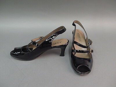 Anyi Lu Heels Black Genuine Leather Pumps Women's Shoes Size 8.5 Made In Italy