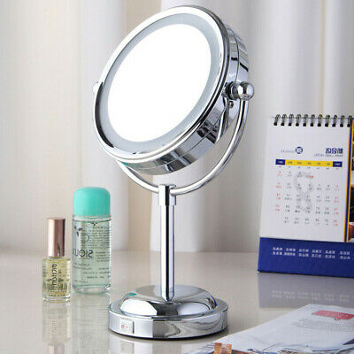 LED Light Double Side 3x Magnifying Make Up Mirror with Lights,360° Rotation NEW