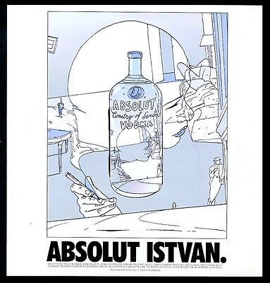 1996 Absolut Istvan Banyai vodka bottle art vintage print ad