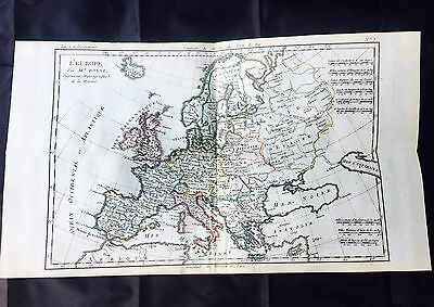 1780 EUROPE Map by ROBERT BONNE, MEDITERRANEAN, FRANCE, ENGLAND Color