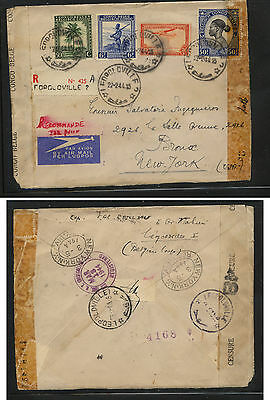 Belgian  Congo  nice double censor registered cover to US  1944          KEL0110