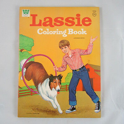 LASSIE Coloring book UNUSED 1972 TV Show Comic 128 Pages No Writing