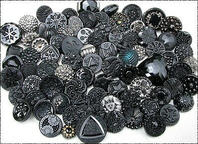 83 Antique & Vintage Black Glass Buttons, Lacy Type, Imit. Fabric, Silver Luster