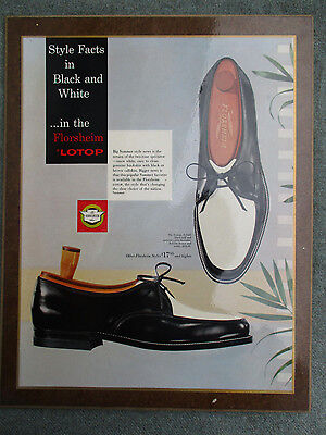 VINTAGE 1950s FLORSHEIM BLACK & WHITE 2-TONE MENS SHOES STORE DISPLAY SIGN